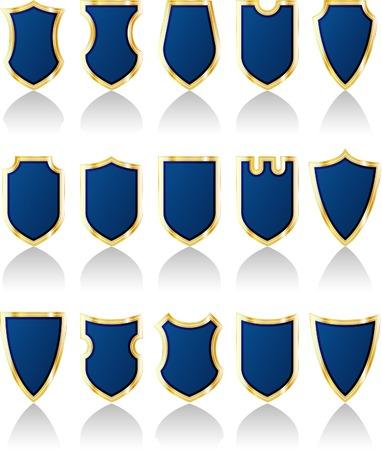 vector set of blue shields Vector