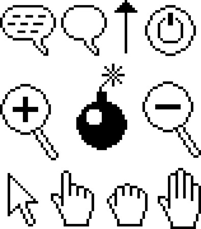 clic: vector pixelated cursors and signs