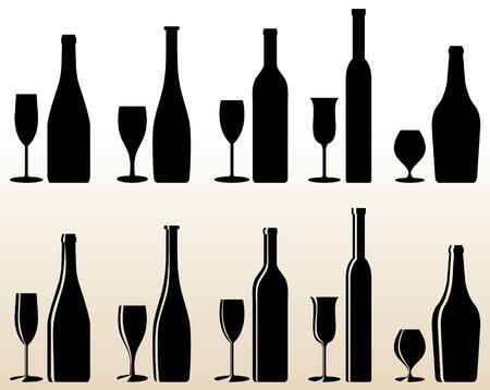 alcoholismo: Vector diferentes botellas y vasos  Vectores