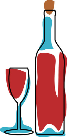cabernet: vector retro red wine with glass