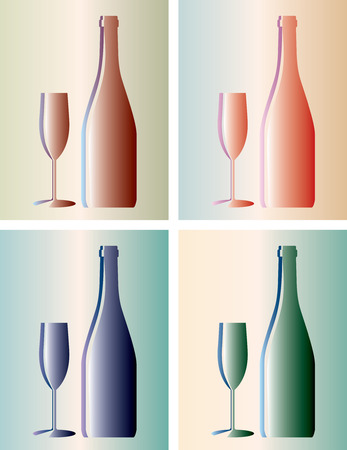 chianti: vector bottle and glass in four variations
