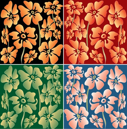 vector floral wallpaper in four color variations Vector