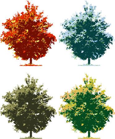 vector tree in four seasons Stock Vector - 3025663