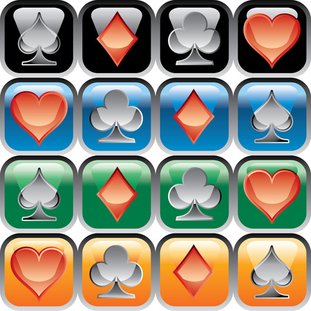 vector buttons with playing cards Vector
