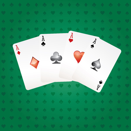 vector four aces on green table Vector