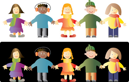 playschool: vector kids on white and black background