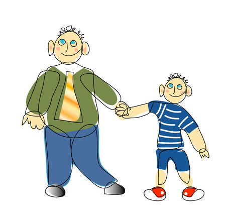 vector drawing of son and father Vector