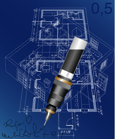 vector blueprint of the house with pen Vector