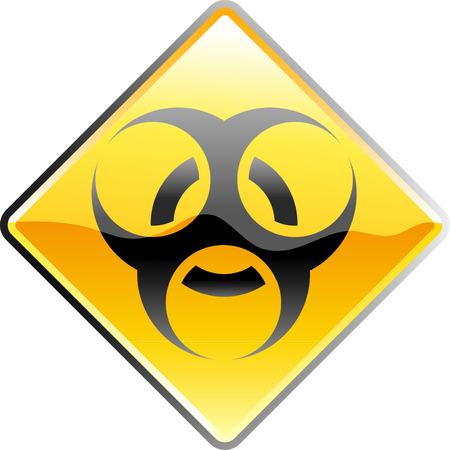 the bacteria signal: vector shiny bio hazard sign