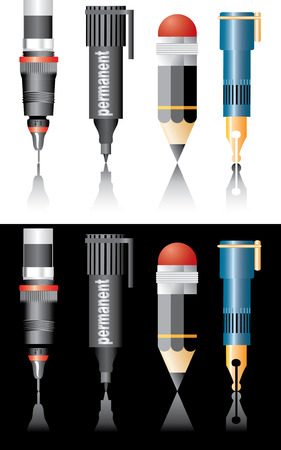 vector illustration of the writing equipment Vector