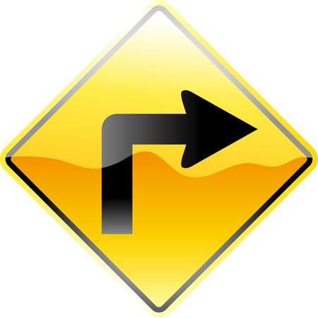 vector traffic sign go right Vector