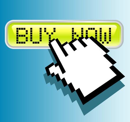 buy button: vector hand cursor on buy button Illustration