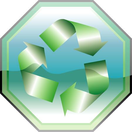 vectorillustration recycling symbol on traffic sign Vector