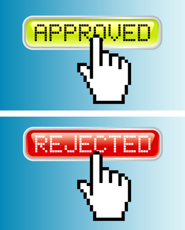 vector hand cursor on approved button Vector