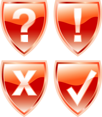 vector red shield buttons Stock Vector - 3025698