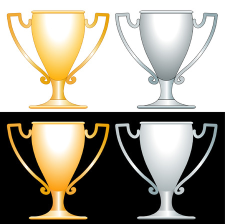 awarded: vector golden and silver trophy cups