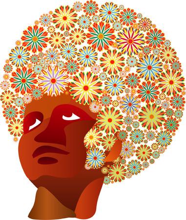 african woman face: vettore di donna con fiori in capelli  Vettoriali