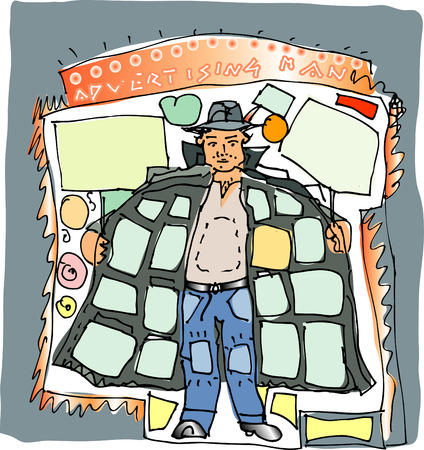 pantaloon: vector illustration of the advertising man (it is easy to remove text in separate layer)