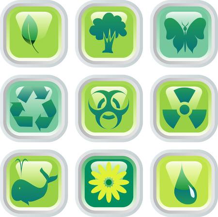 Vector botones para la protección del medio ambiente