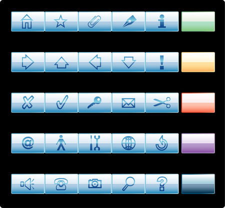vector long bbuttons for web and computing Vector