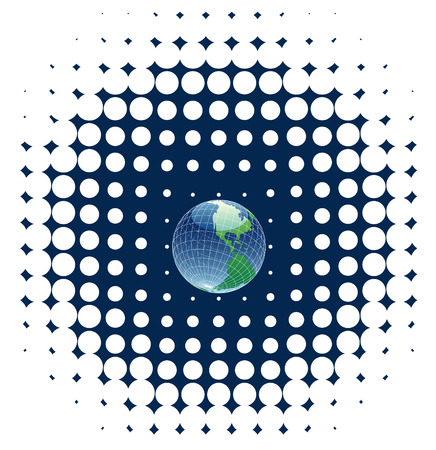 vector globe on dots background Vector