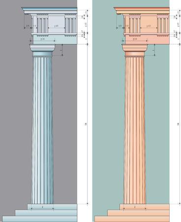 colonna romana: illustrazione vettoriale della colonna con dorico numerico proporzioni in due varianti colore Vettoriali