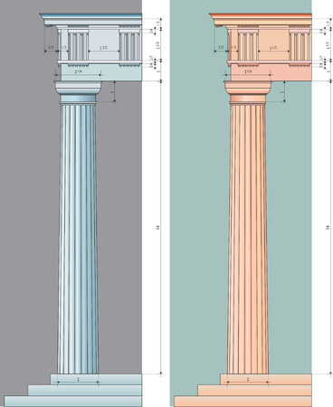 vector illustration of the doric column with numeric proportions in two colour variations Illustration