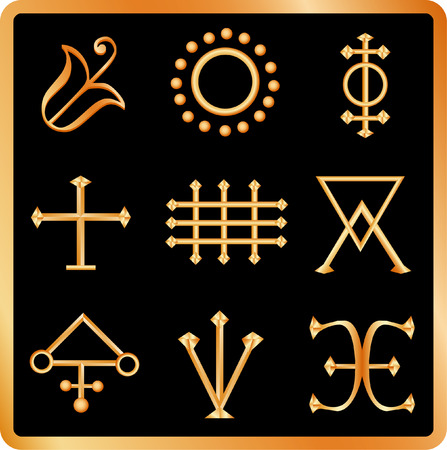 Golden Alquimia signos No.2.  Ilustración de vector
