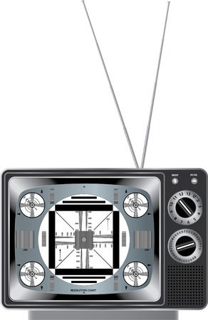 vintage television: vector detailed illustration vintage television with test signal