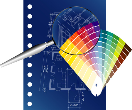 vector blueprint with color palette Vector