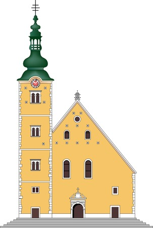 turret: old baroque church Illustration