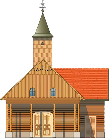 church 3d: Front view of wooden church