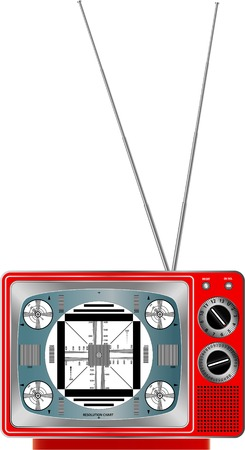 vector illustration of vintage red television Vector