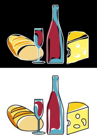 vector bottle of red wine and food Illustration