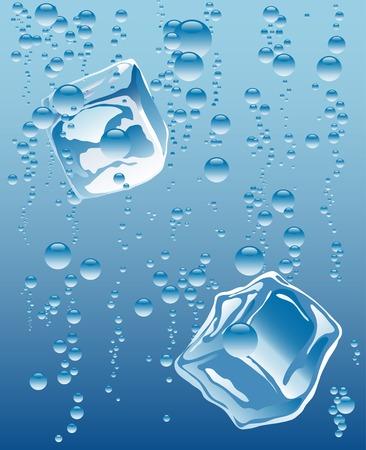 cubos de hielo: vector de cubitos de hielo en el agua mineral
