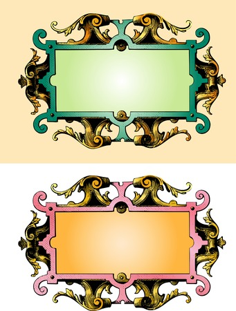 vector illustration of the baroque wooden frame Vector