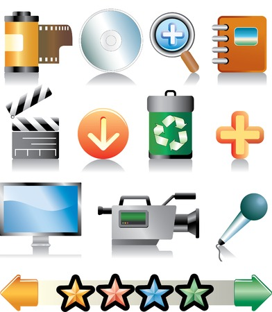 vector set of icons for multimedia, movie etc. Stock Vector - 3057126