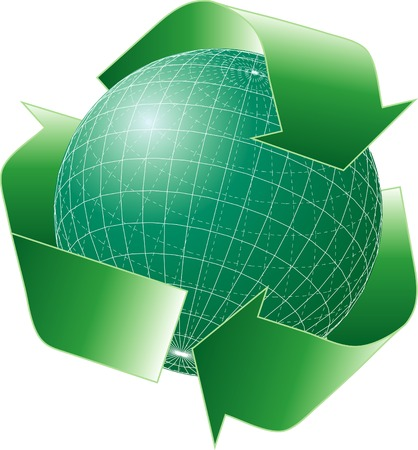 vector green globe with recycling sign Vector