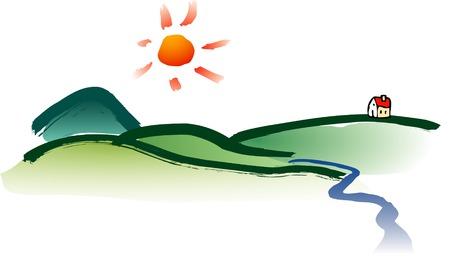 watercolor vector landscape Stock Vector - 3057118