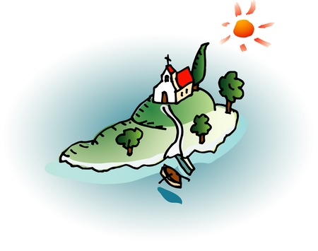 punt: little Dalmatian island with old church Illustration