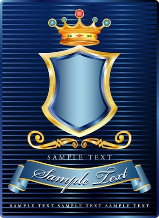 vector label with blue shield Vector