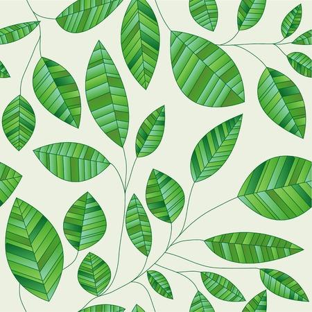 vector seamles green leaves wallpaper Vector