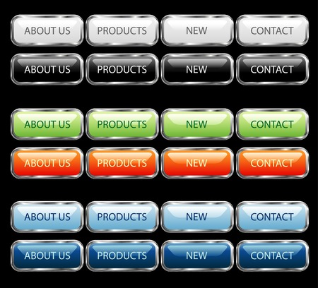 vector web buttons with silver frame Vector