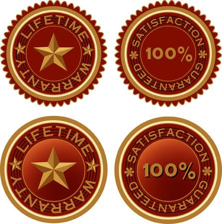 lifetime: vector labels for lifetime warranty Illustration
