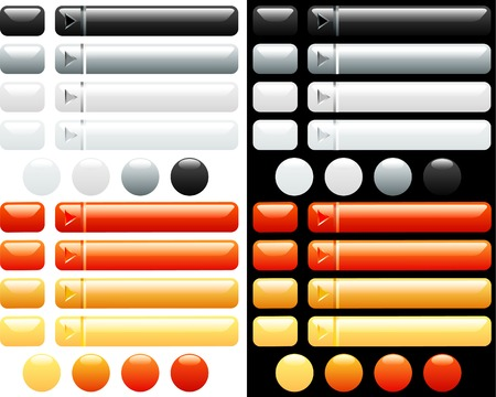 vector white and orange buttons for internet Stock Vector - 3104669
