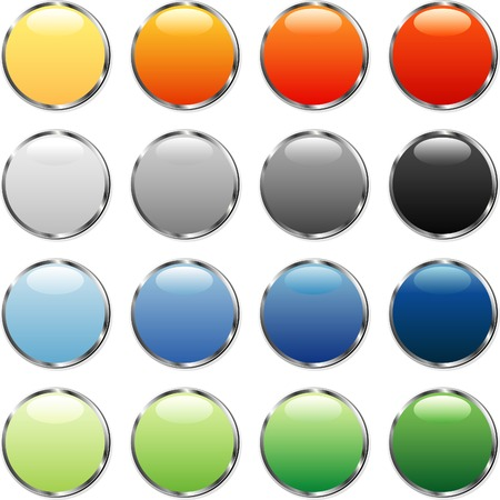 stud: vector buttons with silver ring Illustration