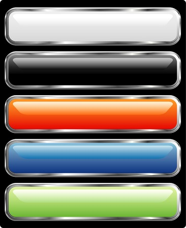 silver frame: vector long buttons with silver frame