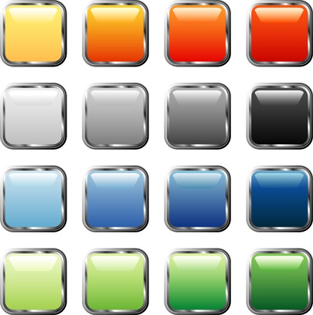 rounded squares: vector square buttons with silver frame