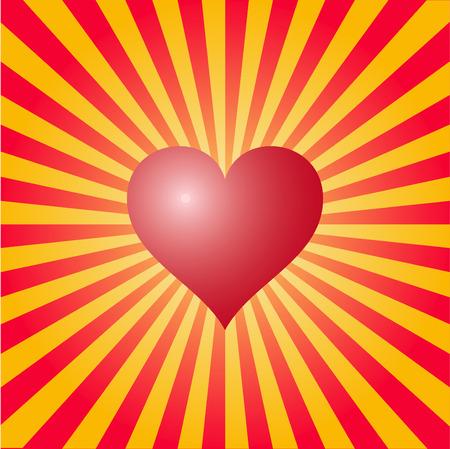 vector heart with sun in back Vector