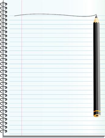 vector notebook with black pencil Vector